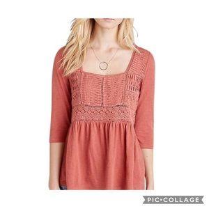 Anthropologie pink peasant top half sleeved med